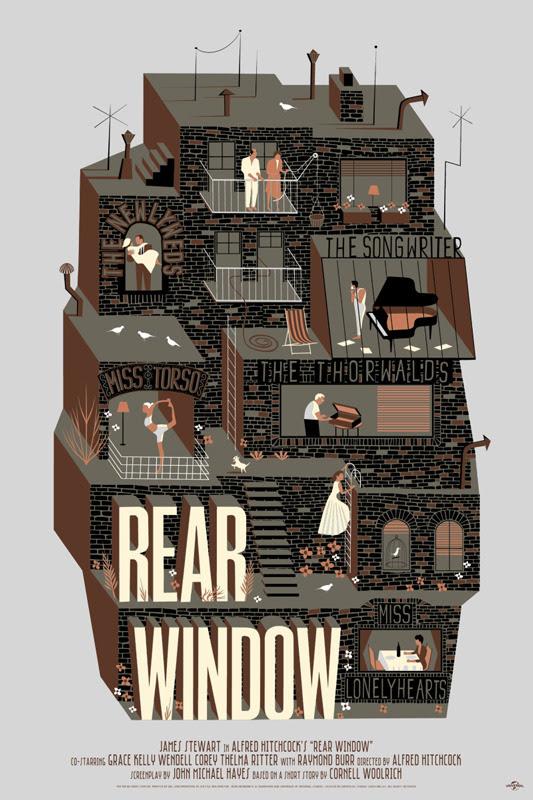 """「裏窓」バリアント Rear Window Variant Poster by Adam Simpson.  24""""x36"""" screen print. Hand numbered. Edition of 110.  Printed by D&L Screenprinting.  US$65"""