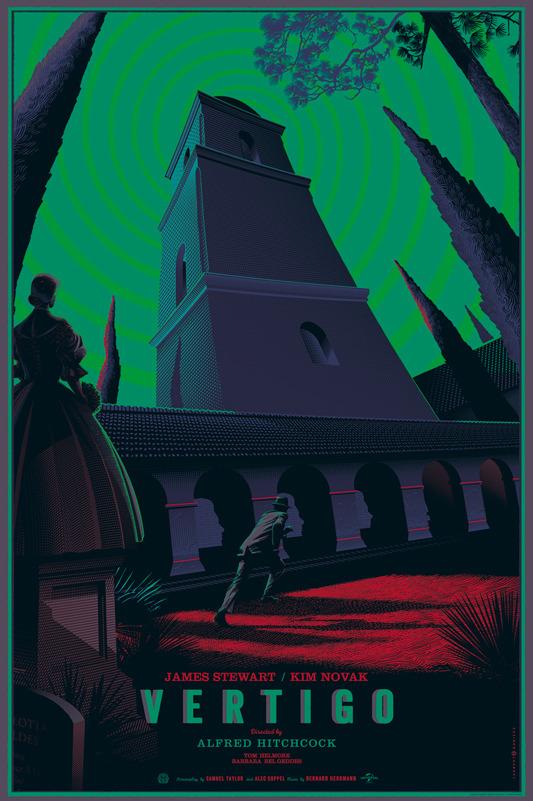 """「めまい」バリアント Vertigo  Variant Poster by Laurent Durieux.  36""""x24"""" screen print. Hand numbered. Edition of 175.  Printed by D&L Screenprinting.  US$90"""
