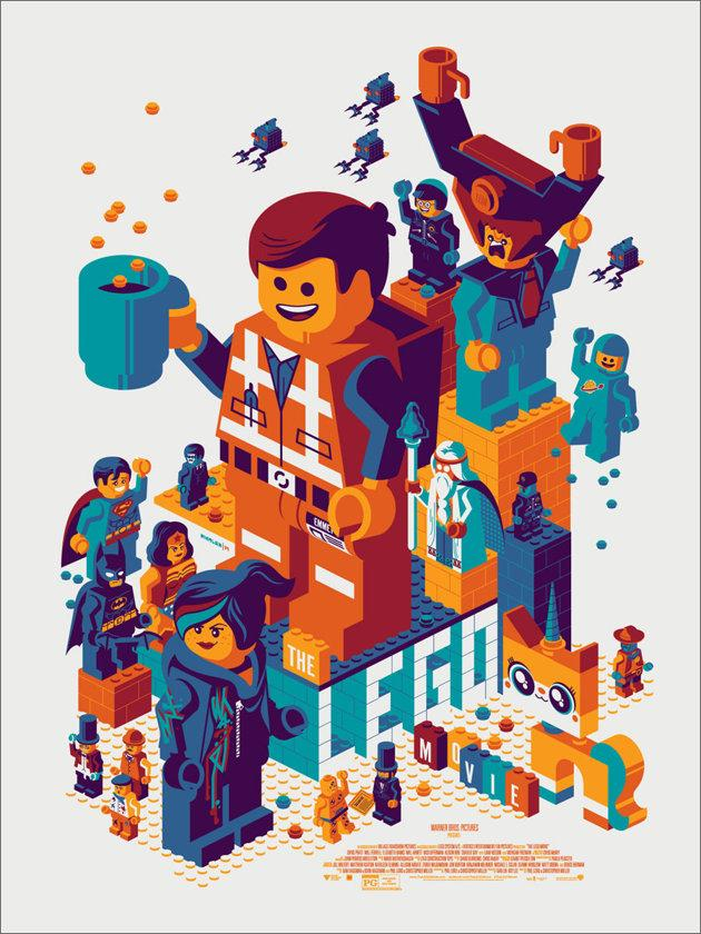 """「THE LEGO MOVIE」 Poster by Tom Whalen.  18""""x24"""" screen print. Hand numbered. Edition of 475.  Printed by D&L Screenprinting.  US$45"""