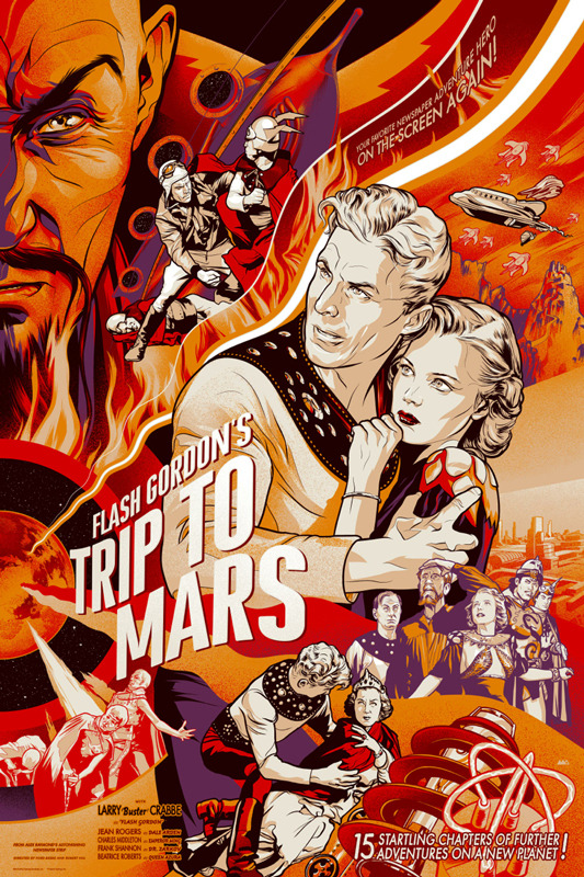 "「フラッシュ・ゴードンの火星旅行 」Flash Poster by Martin Ansin.  24""x36"" screen print. Hand numbered.  Edition of 375.  Printed by D&L Screenprinting.  US$50"