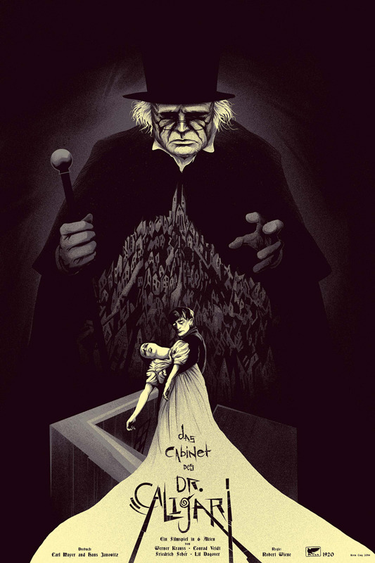 "「カリガリ博士」レギュラー The Cabinet of Dr. Caligari  Regular Poster by Kevin Tong.  24""x36"" screen print. Hand numbered. Edition of 300.  Printed by D&L Screenprinting.  US$45"
