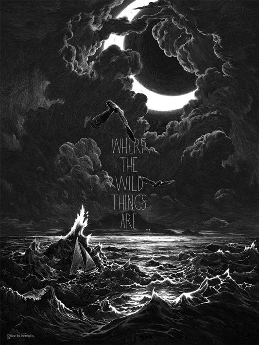 """「かいじゅうたちのいるところ」 Where The Wild Things Are Poster by Nicolas Delort.  18""""x24"""" screen print. Hand numbered. Edition of 250.  Printed by D&L Screenprinting.  US$40"""