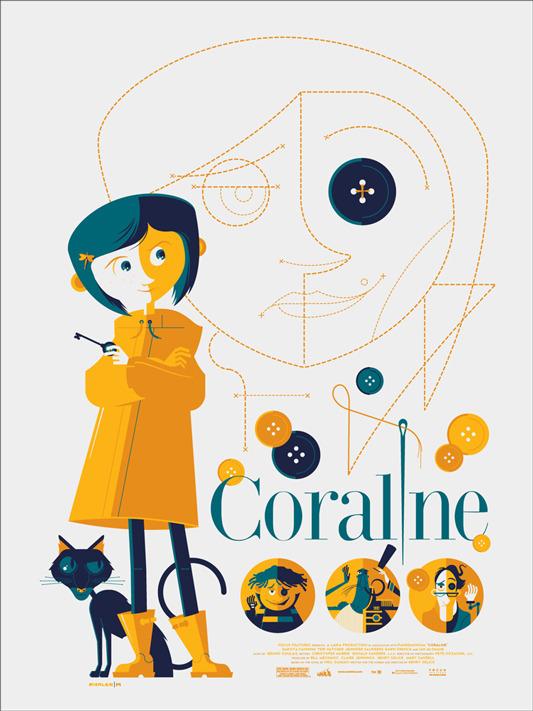 """「コラライン」 CORALINE Poster by Tom Whalen.  18""""x24"""" screen print. Hand numbered. Edition of 275.  Printed by D&L Screenprinting.  US$45"""