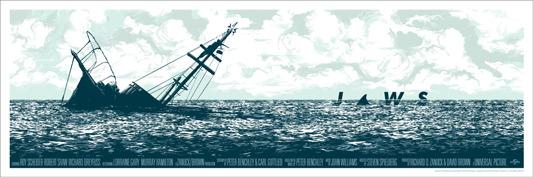 """「ジョーズ」 JAWS Poster by Cesar Moreno.  12""""x36"""" screen print. Hand numbered. Edition of 375.  Printed by D&L Screenprinting.  US$45"""