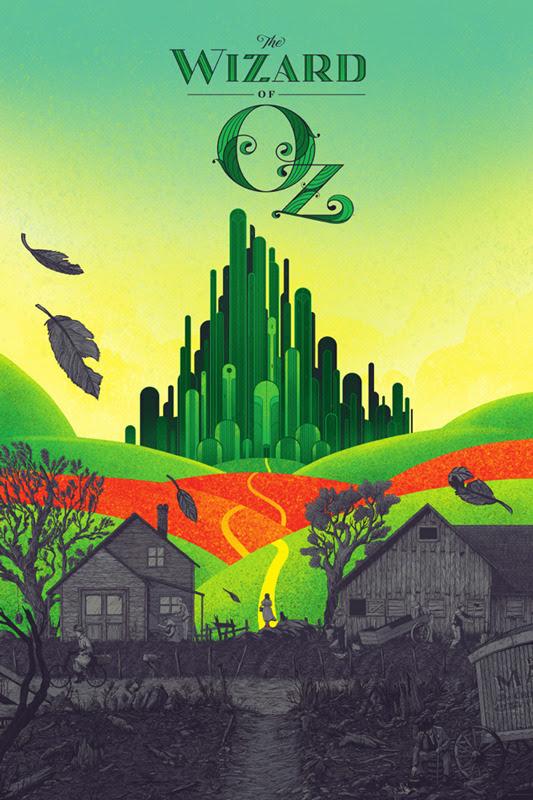 """「オズの魔法使」 The Wizard of OZ Poster by Kevin Tong.  24""""x36"""" screen print. Hand numbered.  Edition of 375.  Printed by D&L Screenprinting.  US$50"""