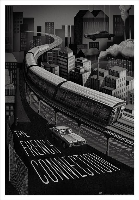 """「フレンチ・コネクション」バリアント THE FRENCH CONNECTION Variant Poster by Adam Simpson.  24""""x36"""" screen print.  Hand numbered. Edition of 150.  Printed by D&L Screenprinting.  US$60"""
