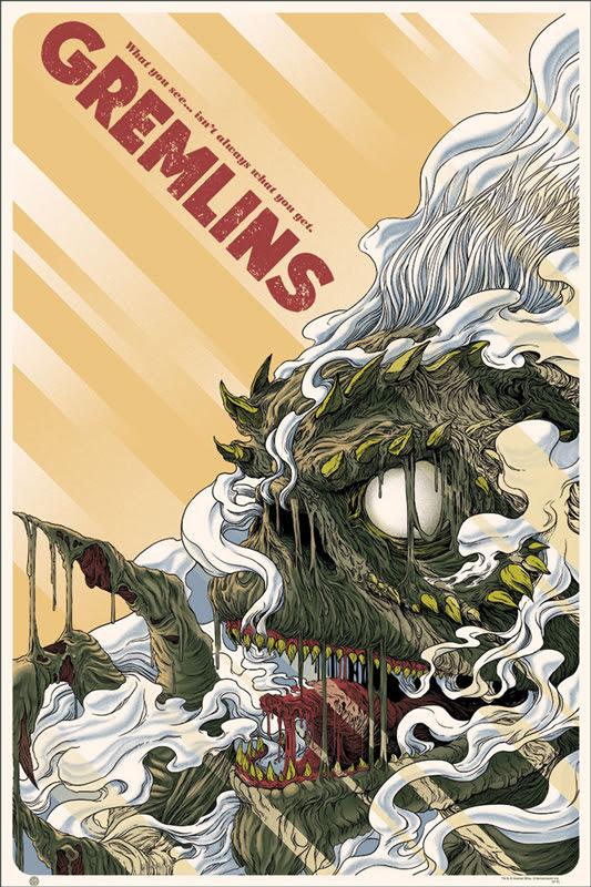 """「グレムリン」 Gremlins Poster by Randy Ortiz.  24""""x36"""" screen print. Hand numbered. Edition of 290.  Printed by D&L Screenprinting.  US$45"""