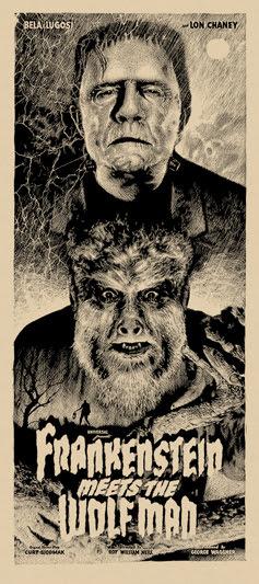 """「フランケンシュタインと狼男」レギュラー Frankenstein Meets the Wolf Man Regular Poster by Elvisdead.  16""""x36"""" screen print.  Hand numbered. Glow in the Dark ink.  Edition of 225.  Printed by D&L Screenprinting.  US$40"""