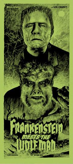 """「フランケンシュタインと狼男」バリアント Frankenstein Meets the Wolf Man Variant Poster by Elvisdead.  16""""x36"""" screen print.  Hand numbered. Glow in the Dark ink.  Edition of 100.  Printed by D&L Screenprinting.  US$60"""