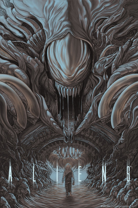 """「エイリアン2」Aliens Poster by Randy Ortiz.  24""""x36"""" screen print.  Hand numbered. Edition of 350.  Printed by D&L Screenprinting.  US$50"""