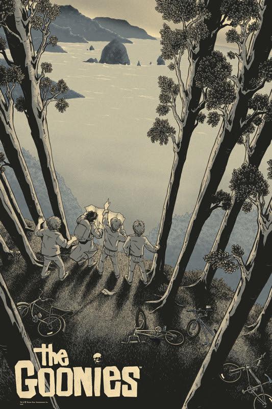 """「グーニーズ」バリアント The Goonies Variant Poster by James Flames.  24""""x36"""" screen print. Hand numbered. Edition of 125. Printed by D&L Screenprinting.  US$65"""
