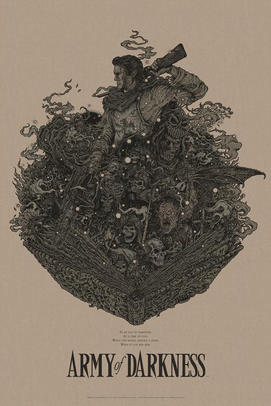 """「死霊のはらわたIII キャプテン・スーパーマーケット」 ARMY OF DARKNESS Variant Poster by Richey Beckett.  24""""x36"""" screen print. Hand numbered.  Edition of 125.  Printed by D&L Screenprinting.  US$65"""