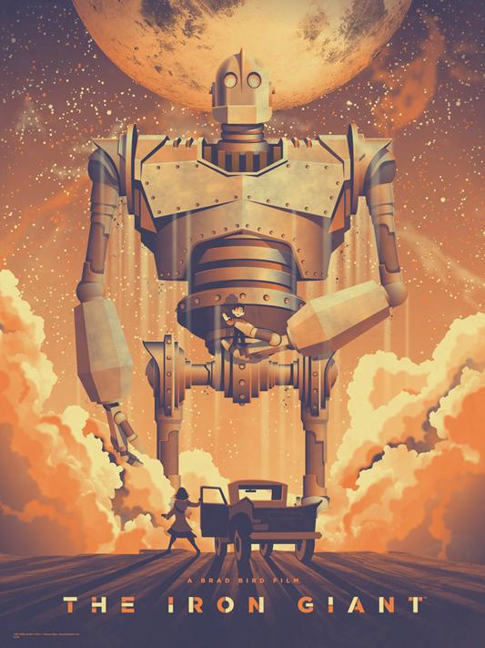 """「アイアン・ジャイアント」 THE IRON GIANT Poster by DKNG.  18""""x24"""" screen print. Hand numbered. Edition of 260.  Printed by DKNG.  US$40"""