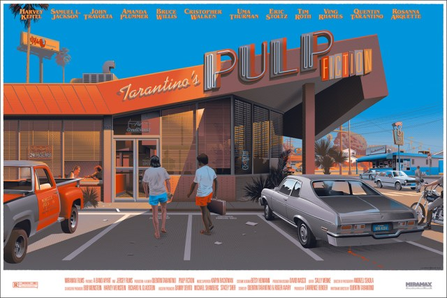 "「パルプ・フィクション」 Pulp Fiction  by Laurent Durieux.  24""x36"" screen print. Hand numbered. Timed edition available until 11:59pm on Monday, Dec. 1st.  Printed by D&L Screenprinting.  US$60"