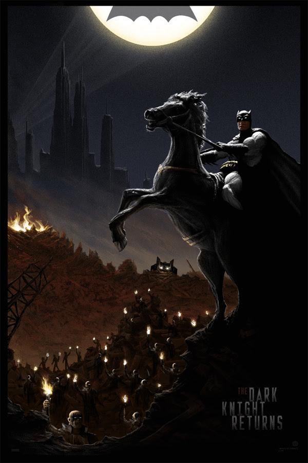 """「バットマン: ダークナイト・リターンズ」 The Dark Knight Returns  by JC Richard.  24""""x36"""" screen print. Hand Numbered. Edition of 275.  Printed by D&L Screenprinting.  US$50"""
