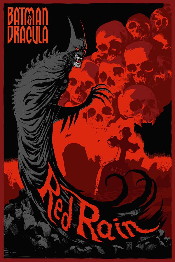 """「バットマン:レッドレイン」 Red Rain  by Francesco Francavilla.  24""""x36"""" screen print. Hand Numbered. Edition of 225.  Printed by D&L Screenprinting.  US$50"""