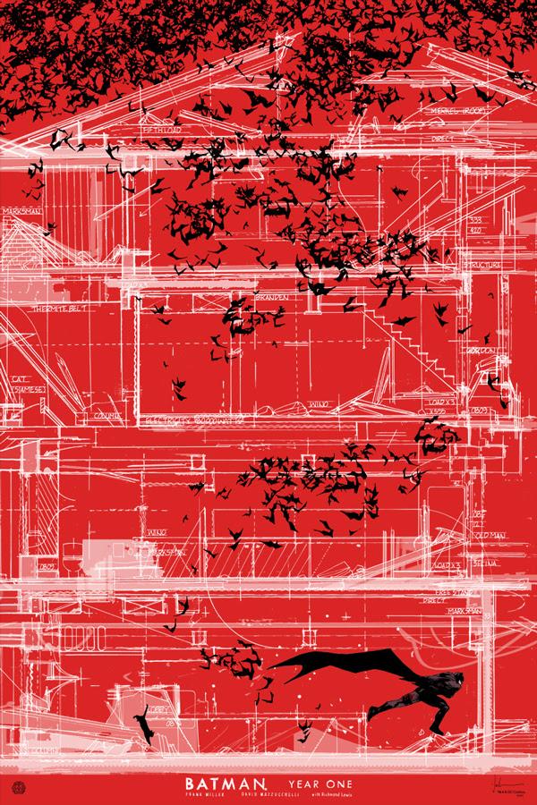 """「バットマン: イヤーワン」バリアント Year One Variant by Jock.  24""""x36"""" screen print. Hand Numbered. Edition of 125.  Printed by D&L Screenprinting.  US$75"""