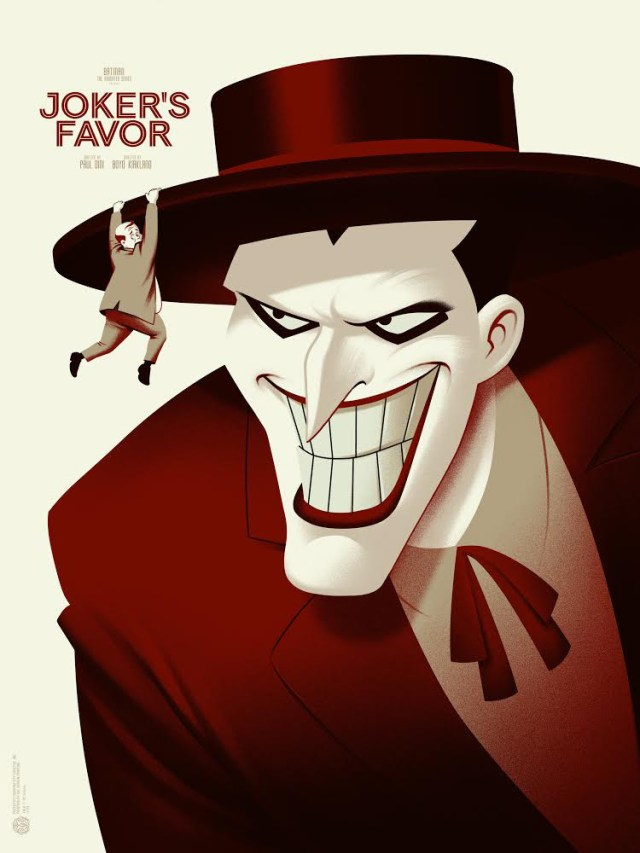 "「ジョーカーの陰謀」バリアント Joker's Favor Variant by Phantom City Creative.  18""x24"" screen print. Hand Numbered.  Edition of 100.  Printed by D&L Screenprinting.  US$65"