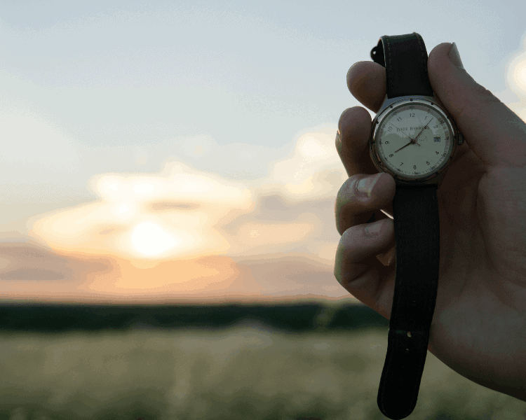 A man's hand holding a watch up to the camera