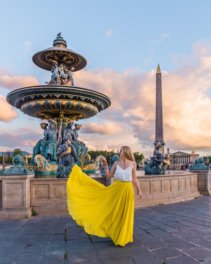 The fountain and the Luxor Obelisk at Place de la concorde Paris