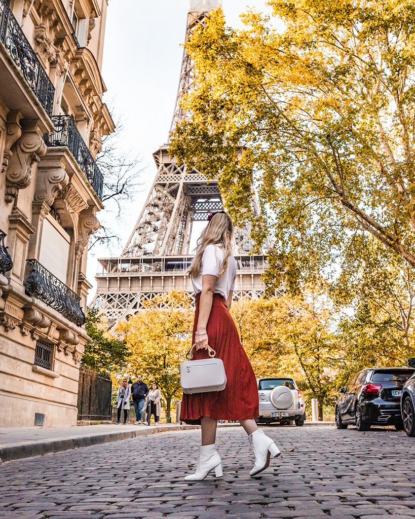 Rue de l'Université in Paris in fall