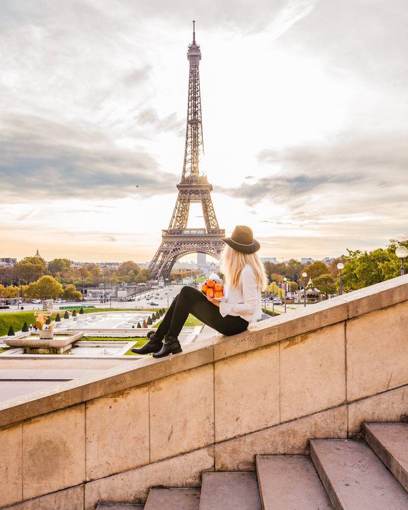 Eiffel Tower from Trocadero stairs in Paris in fall
