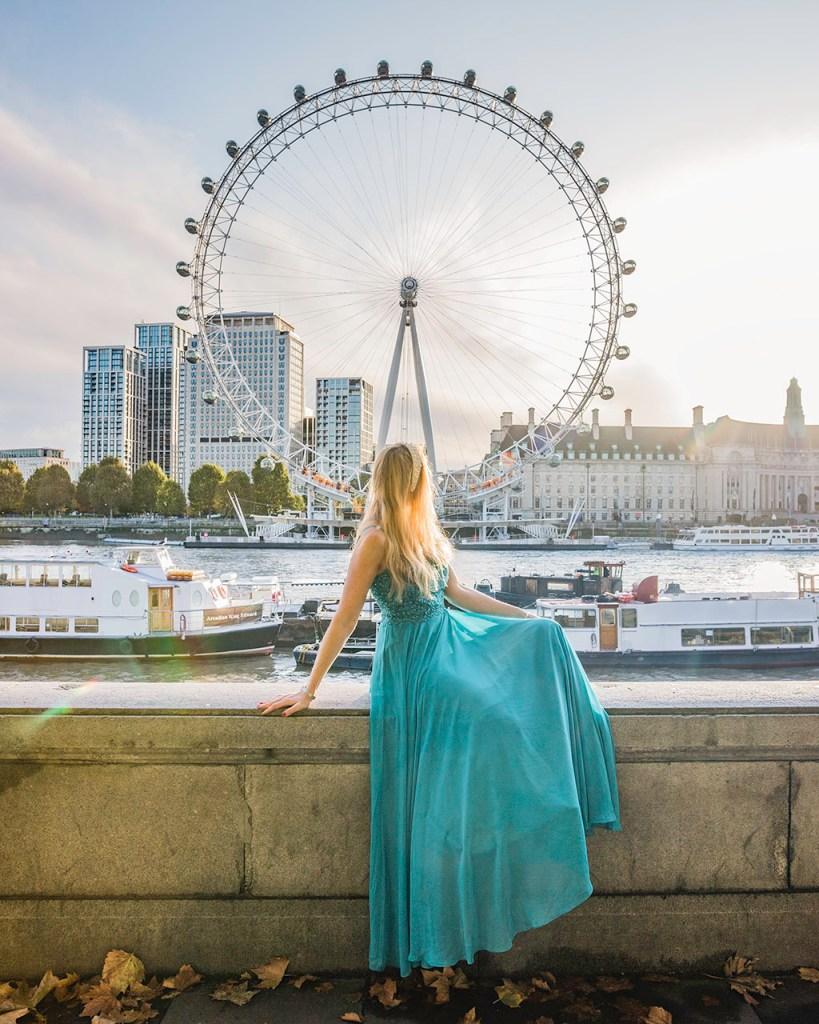 London Eye from Victoria Embankment - London