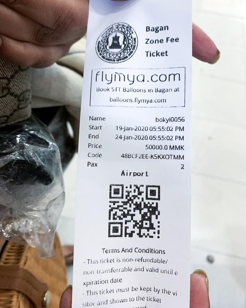 Zone Fees for Bagan, Myanmar