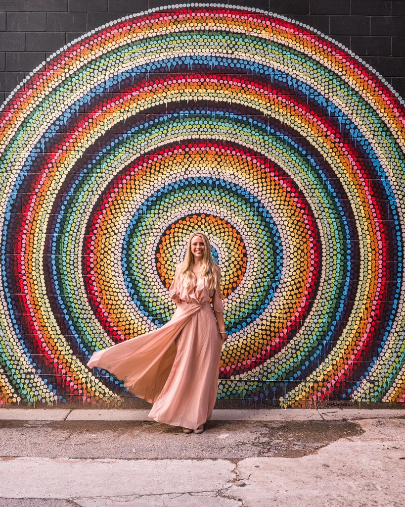 Spiral mural in W Randolph in Chicago