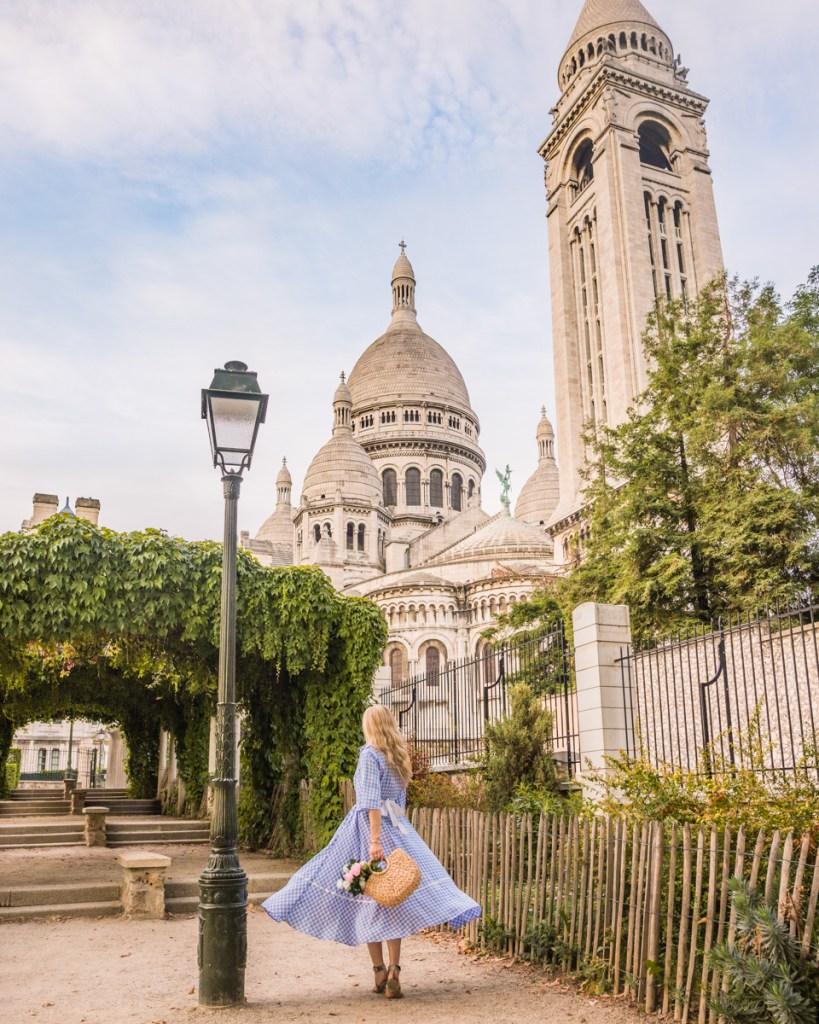 Square Marcel Bleustein Blanchet with a view of the Sacré-Coeur in Montmartre - Paris