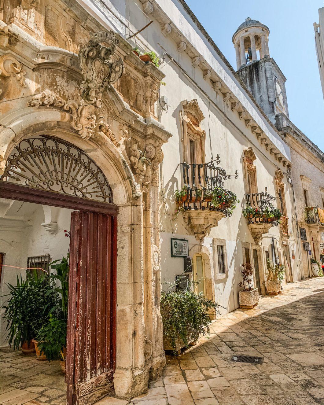 Carved balconies in the historic center in Locorotondo - Puglia