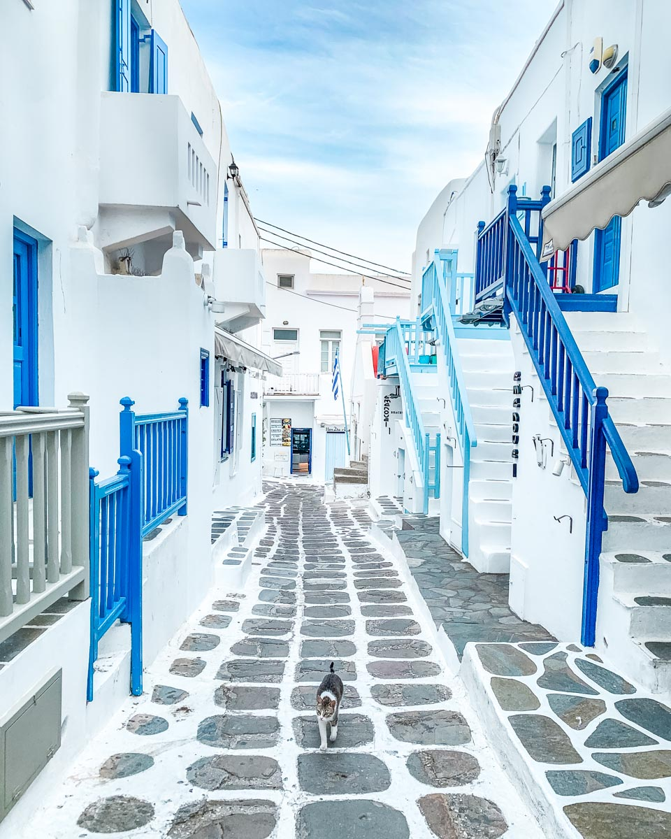 Little street with blue staircases in Mykonos