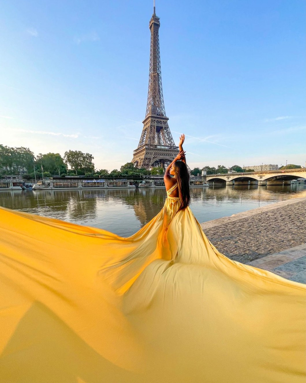 Flying Dress Photoshoot at the Eiffel Tower