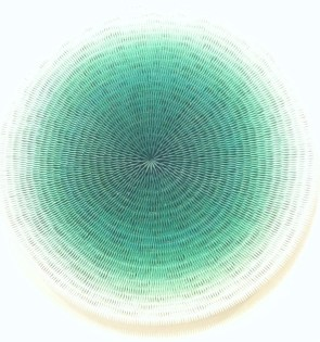 Centripetal. Acrylic, paper on canvas, Diameter 80cm, 2011. By Jase Lim