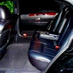 Image of inside black lincoln town car