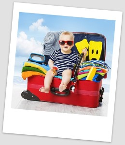Picture of child in suitcase