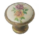 ST Fornitue 3060 Red Yellow Flowers Porcelan Button 70817