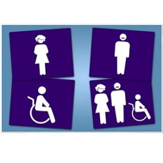 סט שילוט 4 שלטים לחדרי שירותים