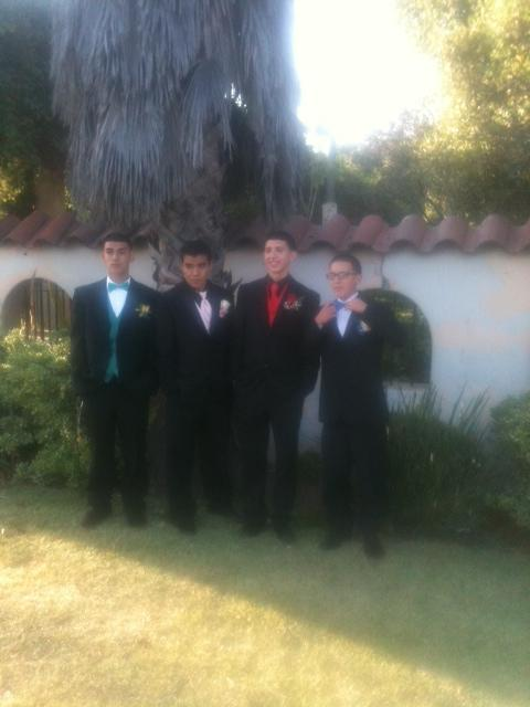 LA Limo for Prom, Picture of boys ready to escort their prom dates in a super stretch SUV limousine (Cadillac Escalade Limo)
