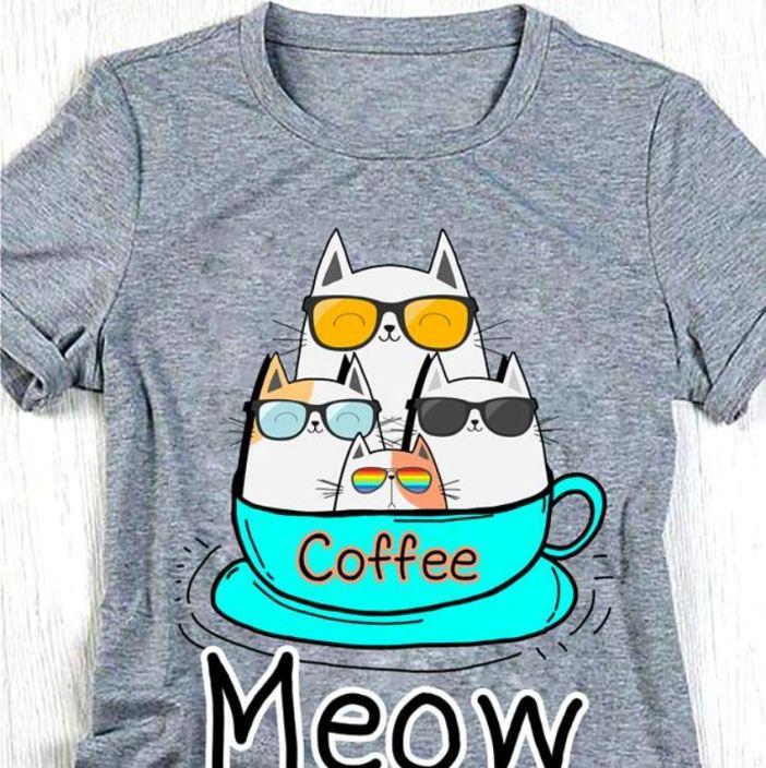 Cat coffee meow ladies shirt