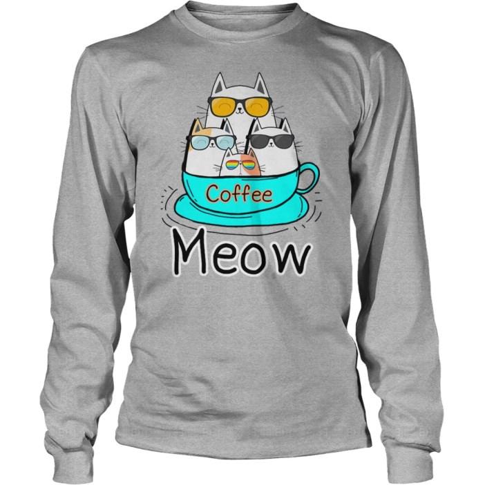 Cat coffee meow shirt
