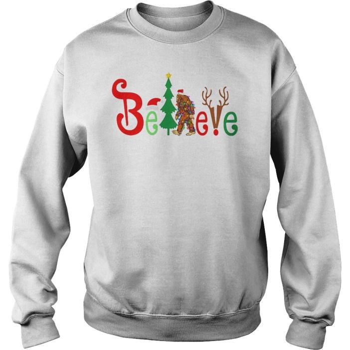 Santa Bigfoot believe Merry Christmas shirt