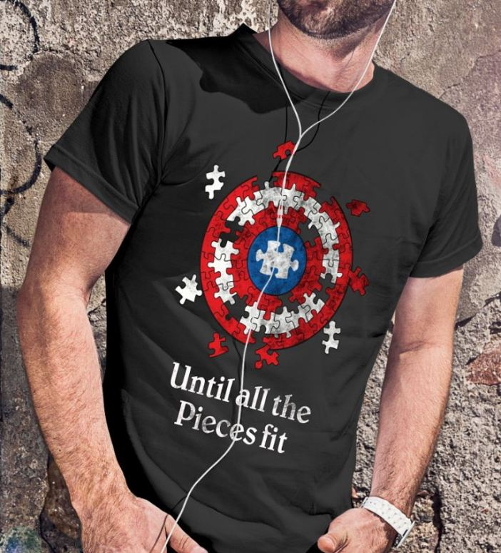 Captain America Shield autism awareness until all the pieces fit shirt