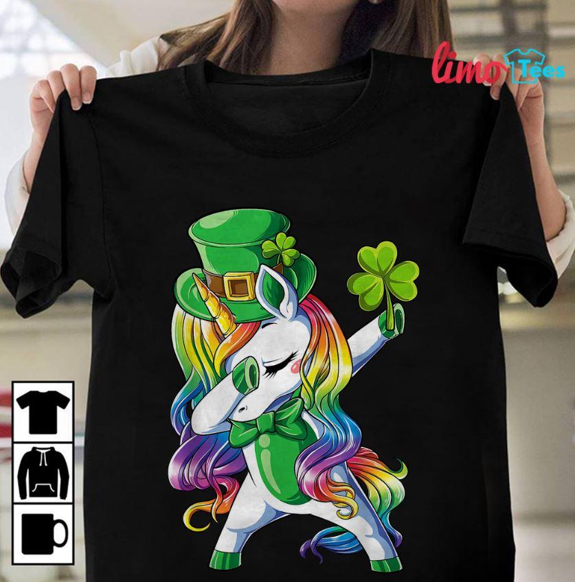 Dabbing unicorn Lepricorn girls St Patricks day shirt