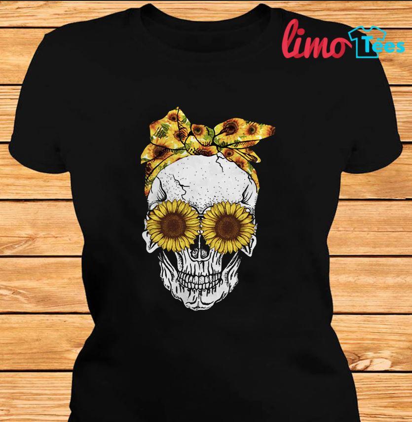 Bandana sunflower skull girl t-shirt