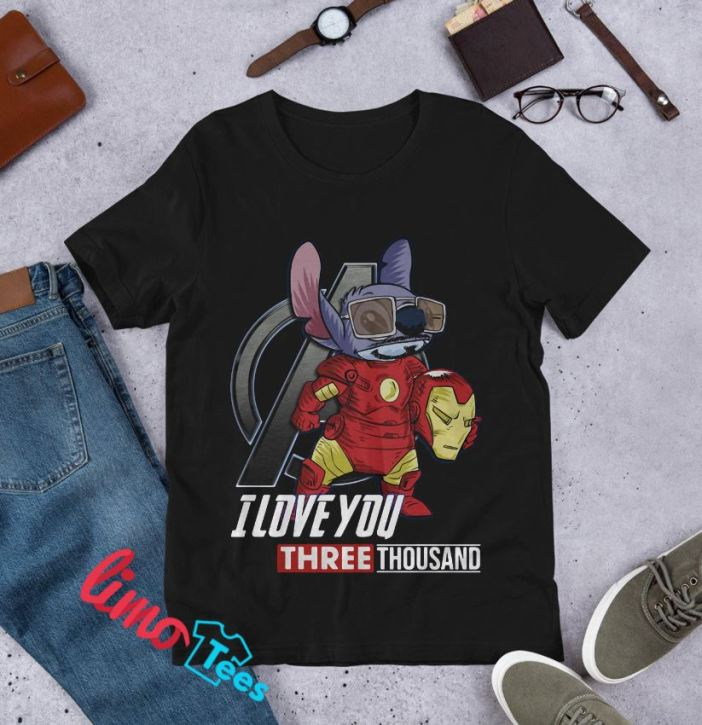 Stitch Iron man I love you three thousand shirt