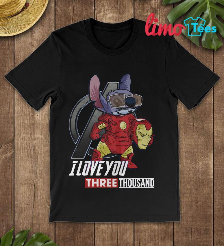 Stitch Iron man I love you three thousand shirt