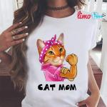 Cat mom strong woman t-shirt