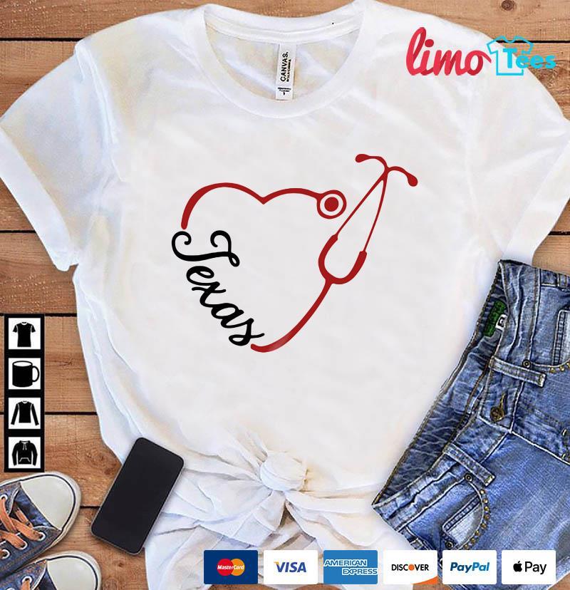 Texas Nurse Stethoscope heart shirt