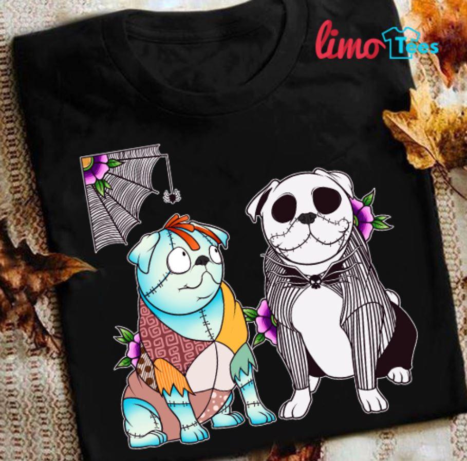 Pug dogs Jack Skellington and Sally shirt